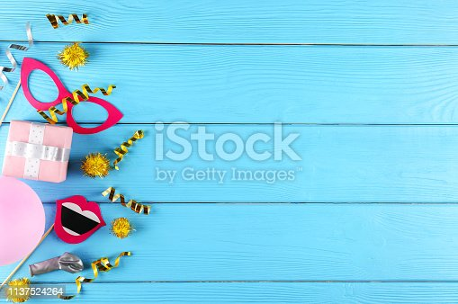 istock Birthday party kit with copy space. 1137524264