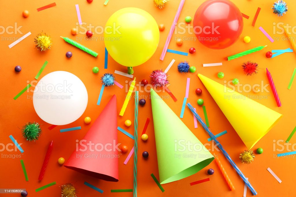 Birthday party traditional accessories and celebration attributes on...