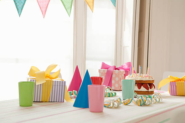 birthday party preparation - birthday gift stock photos and pictures