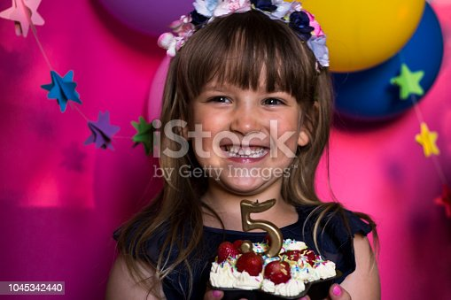 istock Birthday party. Princess and her strawberry cake. Carefree childhood, happiness. 1045342440