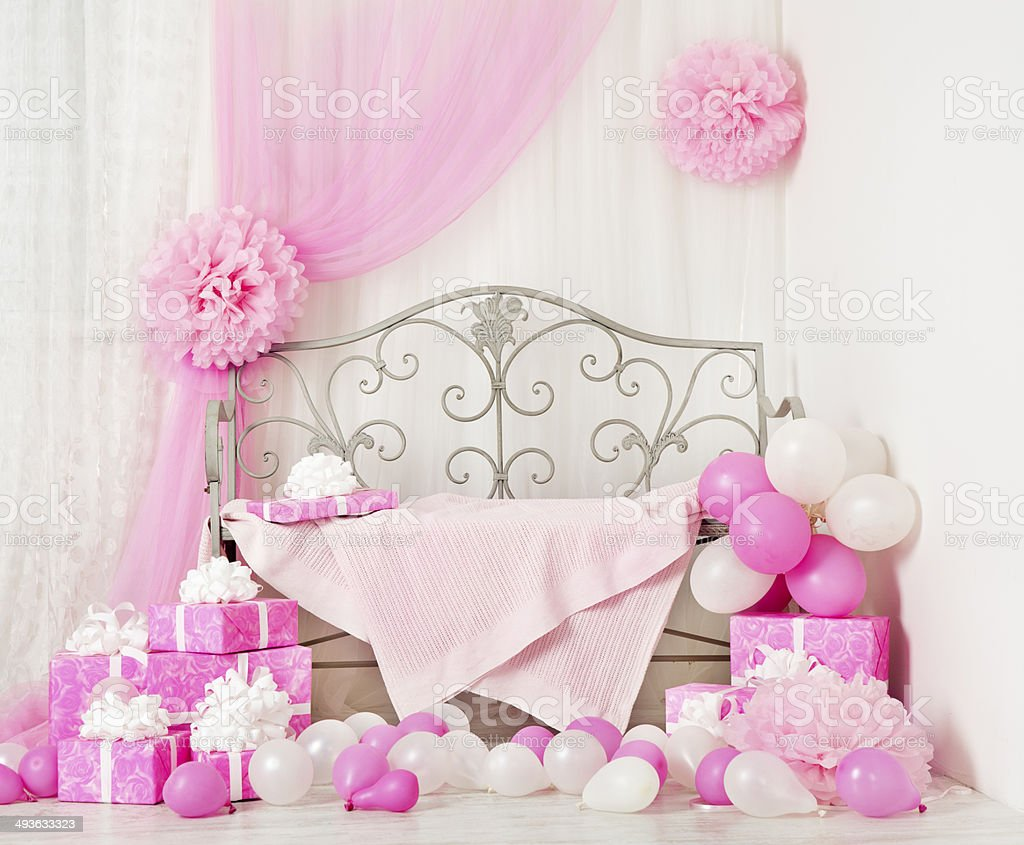 birthday party room with gift boxes. Kids celebration presents stock photo