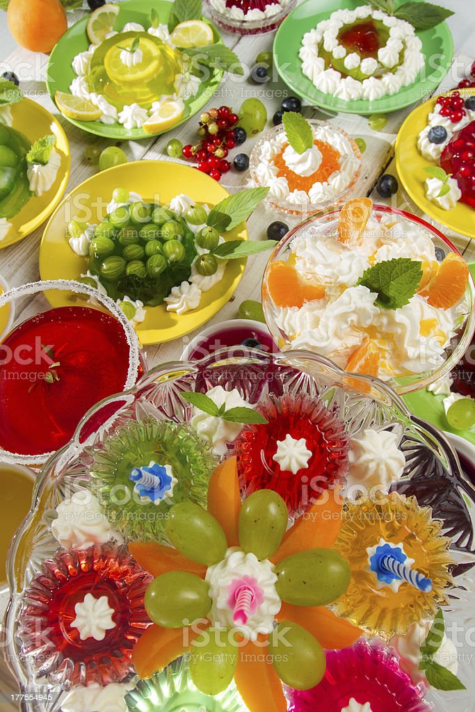Birthday Party with fruit jelly royalty-free stock photo