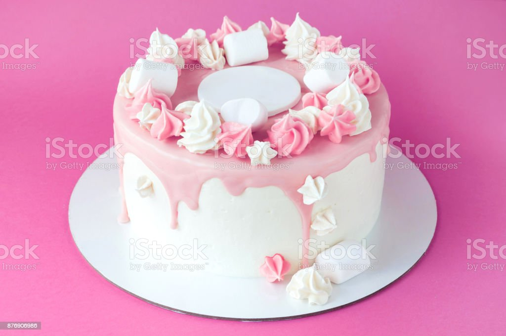 Birthday Pink Cake For Girl Decorated With Marshmallow Meringue