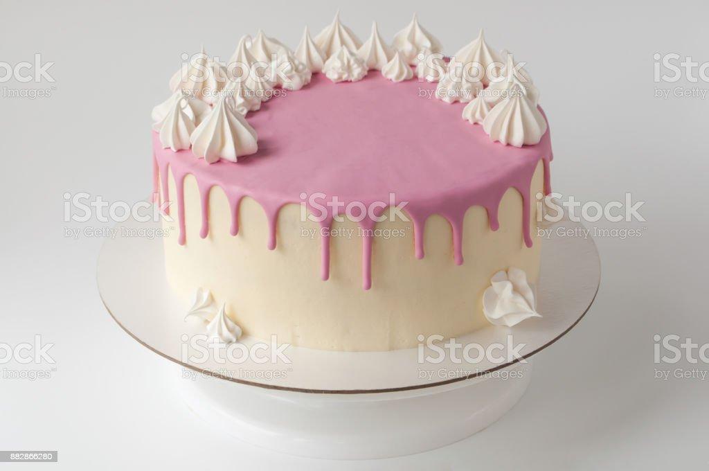 Pastel De Cumpleaños Color Rosa Para Niña Decorada Con