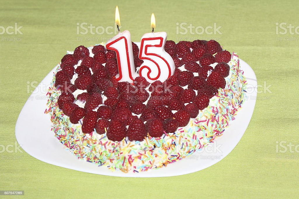 Birthday raspberry cake stock photo