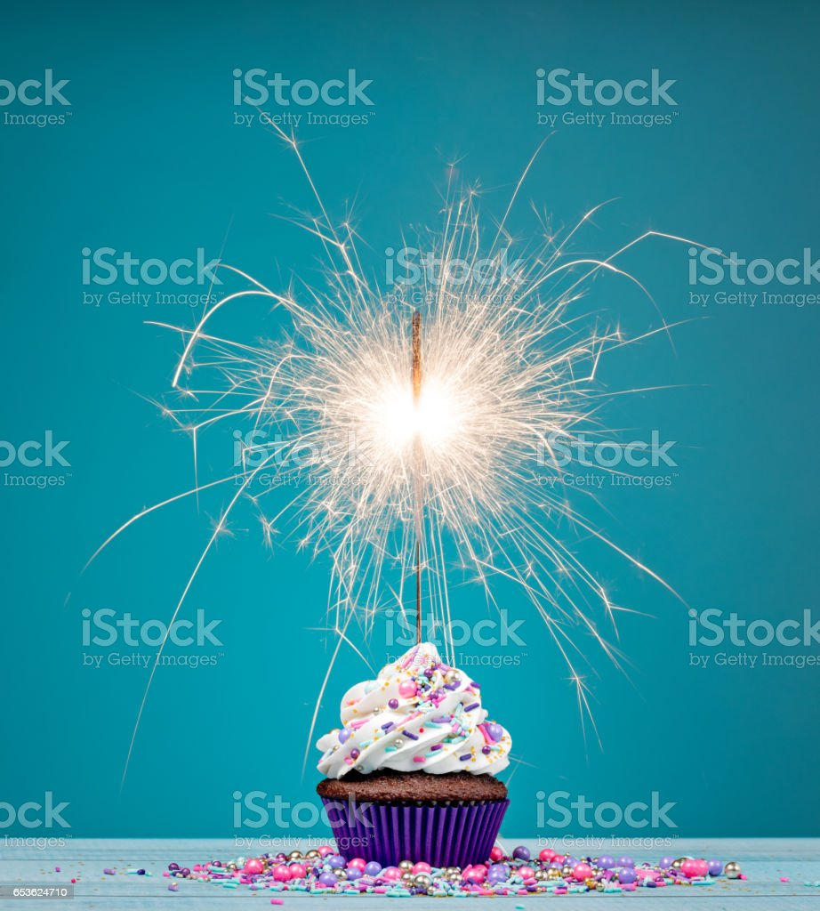 Birthday Sparkler Cupcake stock photo