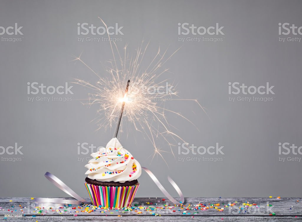 Birthday Sparkler Cupcake stock photo