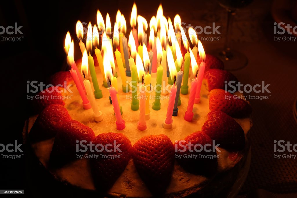 Birthday Strawberry Cake With Lighted Candles Stock Photo More