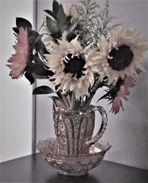 Birthday Sunflowers in Pink stock photo