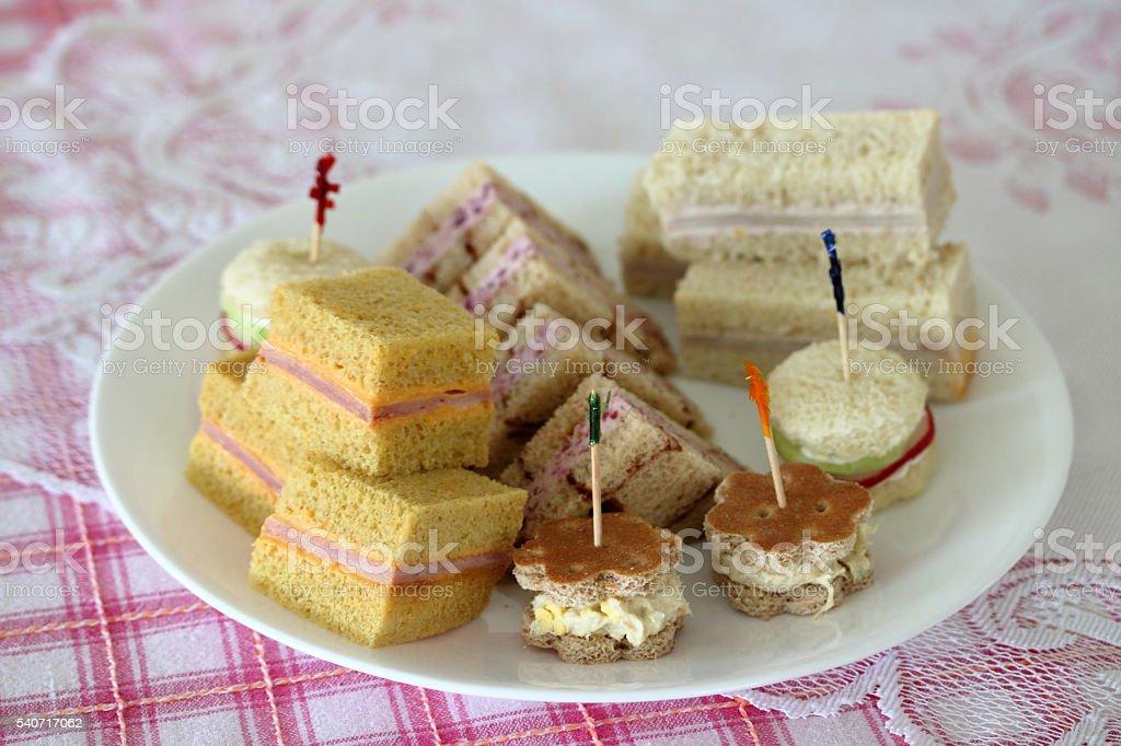 Birthday Tea Party Sandwiches stock photo