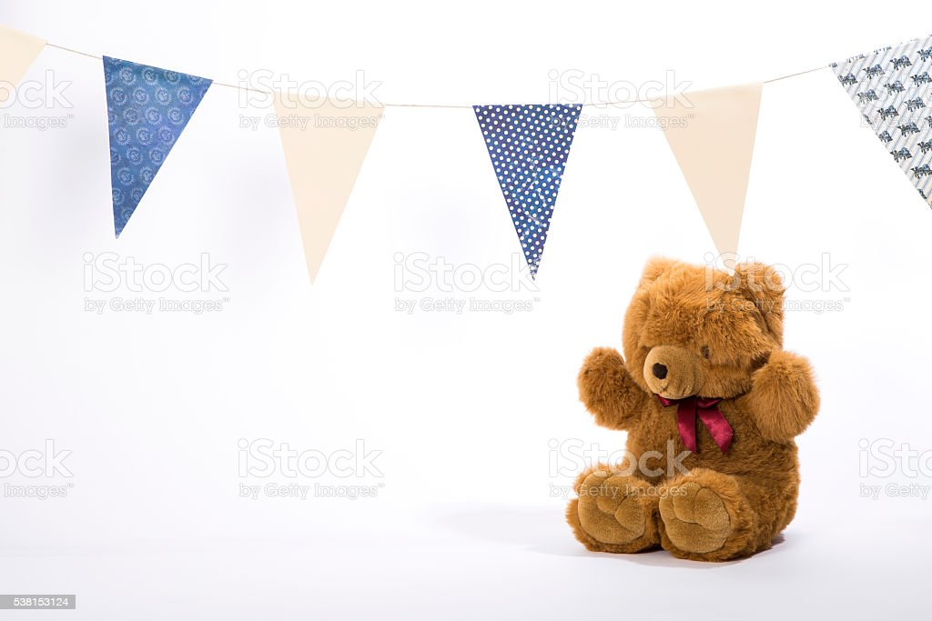 Birthday teddy bear stock photo