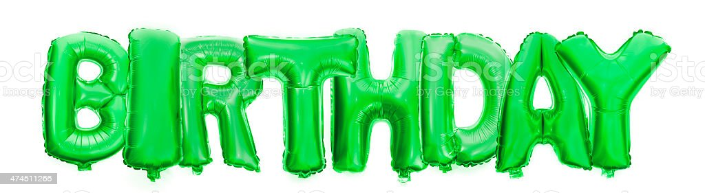 Birthday Written With Foil Balloon Letters Royalty Free Stock Photo