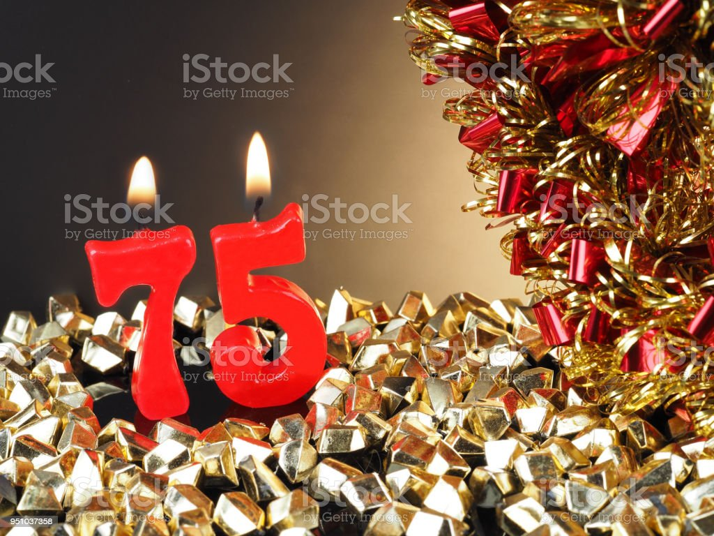 Birthday Anniversary Candle Showing Nr 75 Royalty Free Stock Photo