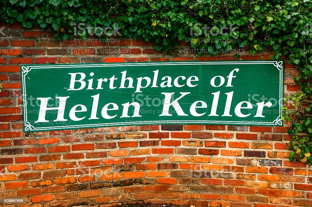 Birthplace of Helen keller wall sign in Tuscumbia, Alabama stock photo