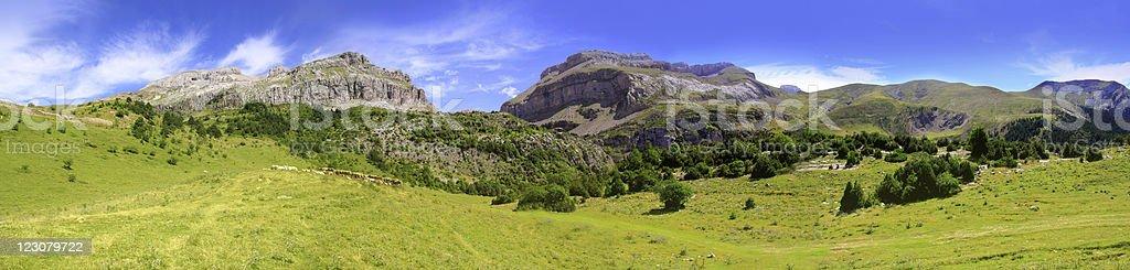 Bisaurin peak Pyrenees panoramic scenics Huesca royalty-free stock photo