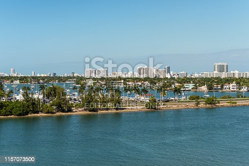 Miami, FL, United States - April 20, 2019:  View of MacArthur Causeway and Venetian Islands at Biscayne Bay in Miami, Florida, United States of America.