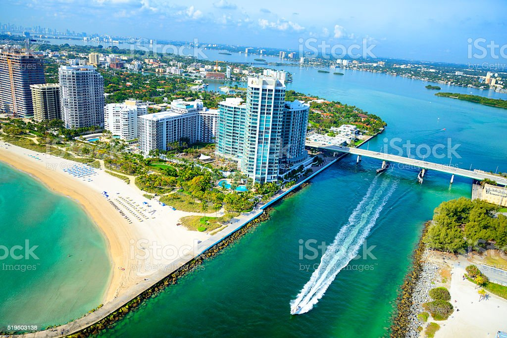 Biscayne Bay, Miami Beach. Aerial View stock photo