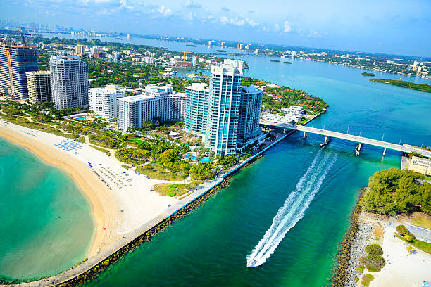 biscayne bay, miami beach. aerial view - miami stock photos and pictures