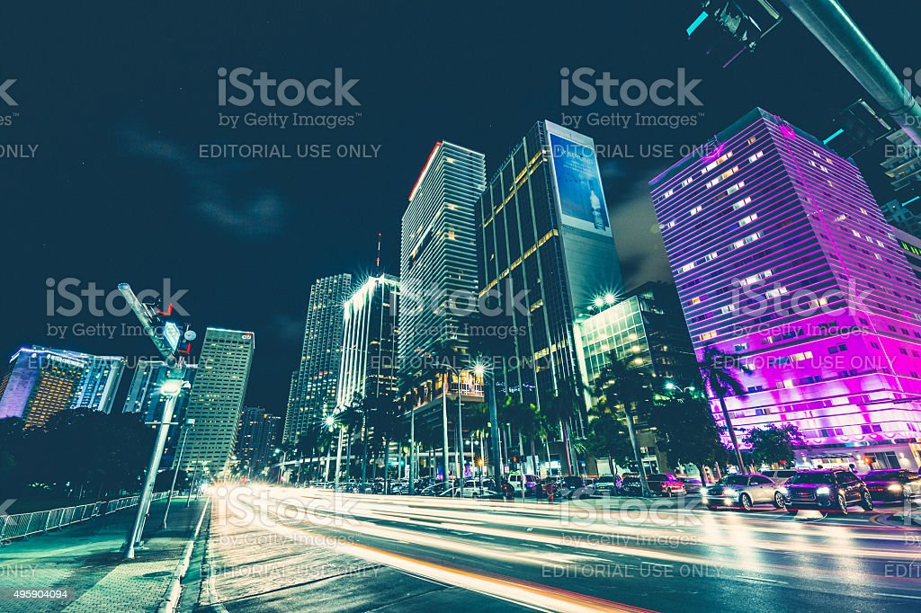 Biscayne Boulevard at Downtown Miami royalty-free stock photo