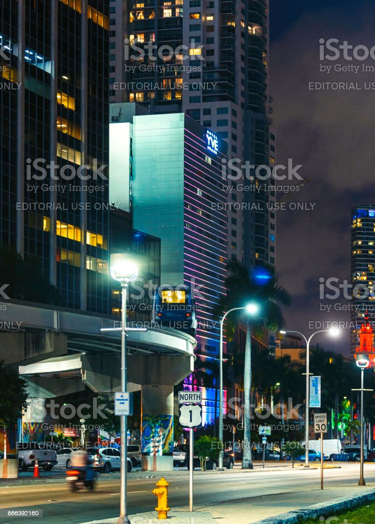 Biscayne Boulevard in Downtown Miami at Night stock photo