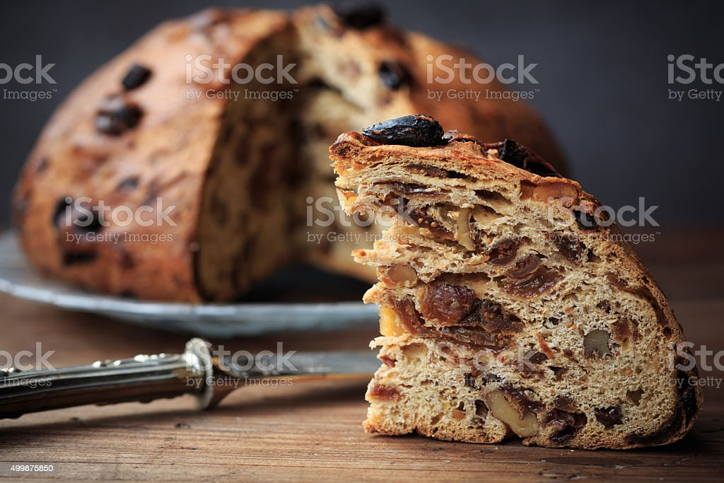 Bisciola, traditional nuts and figs bread stock photo