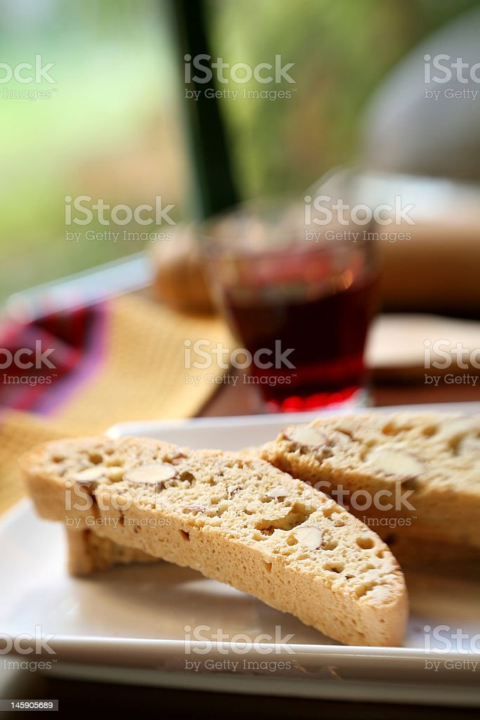 Biscotti an red Wine royalty-free stock photo
