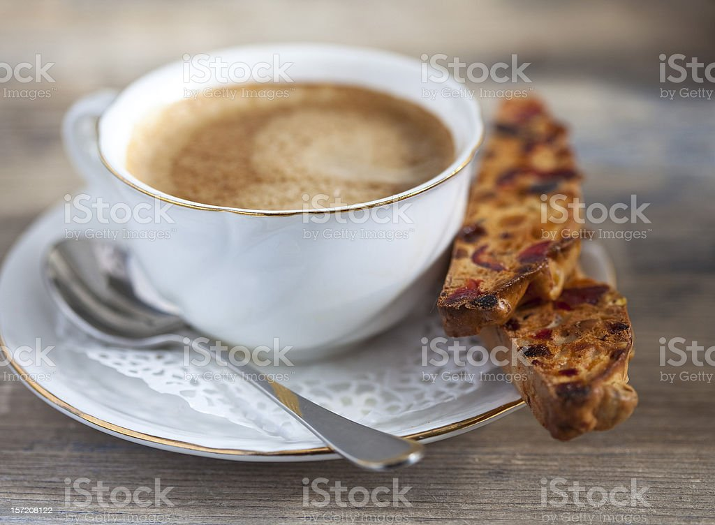 Biscotti and a cup of coffee royalty-free stock photo