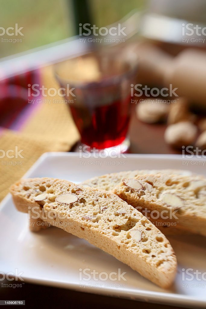 Biscotti and red Wine royalty-free stock photo