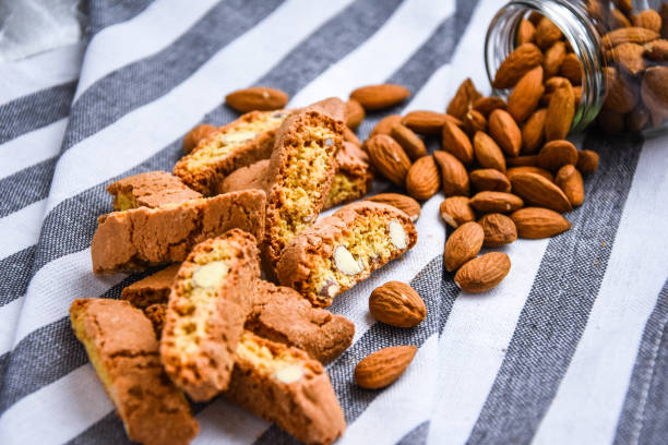 Biscotti , Cantuccini Cookie Biscuits with Almonds , Shortbread. stock photo