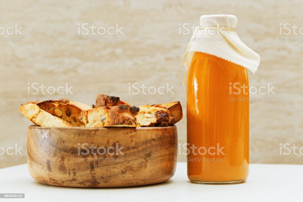 Biscotti cookies and juice - Royalty-free Bakery Stock Photo