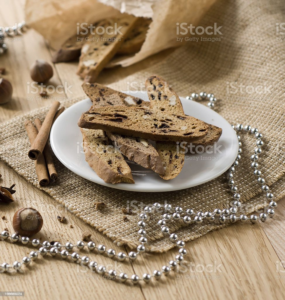 Biscotti - traditional Italian Christmas sweet royalty-free stock photo