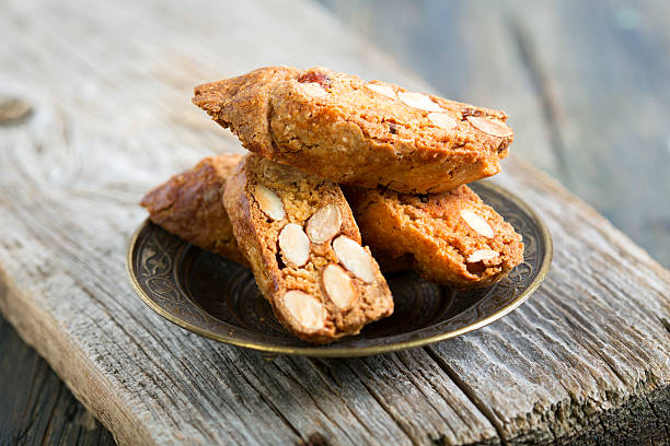 Biscotti with Almonds. stock photo