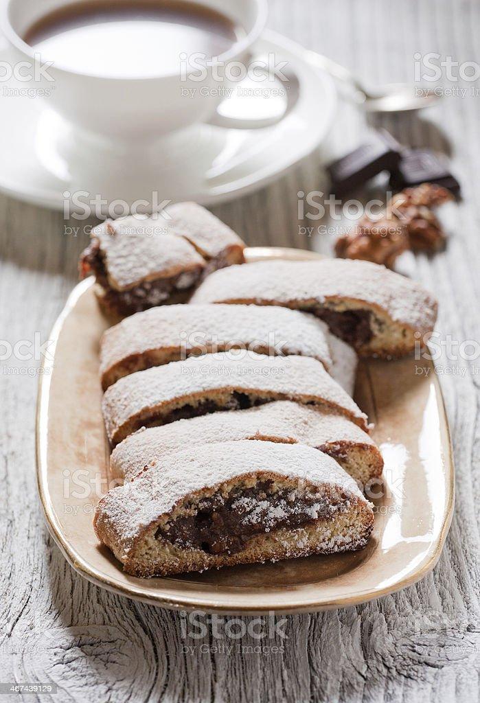 Biscotti with chocolate cream stock photo