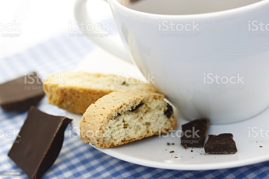 Biscotti with coffee stock photo