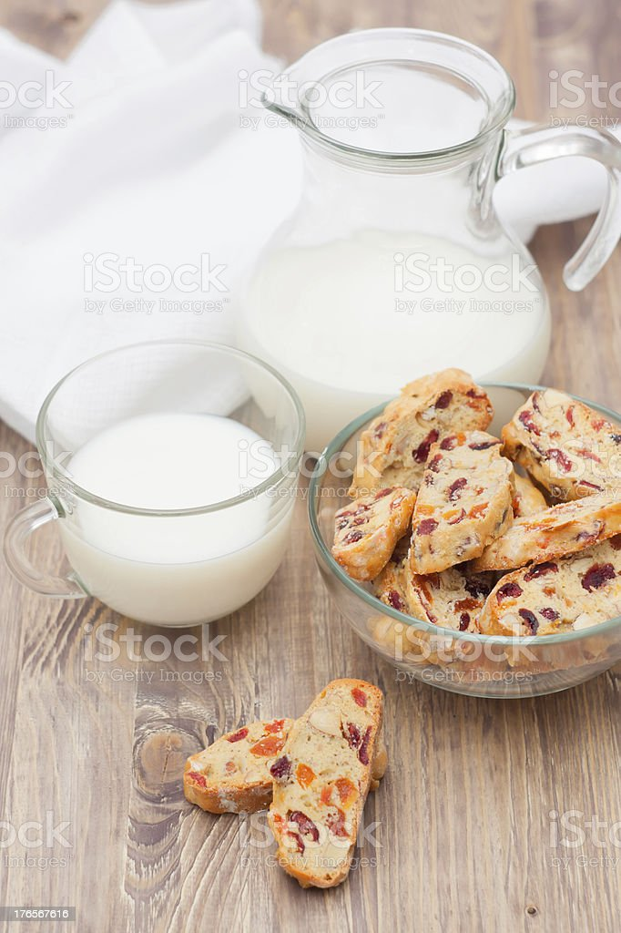 Biscotti with cranderries, apricots and almond royalty-free stock photo