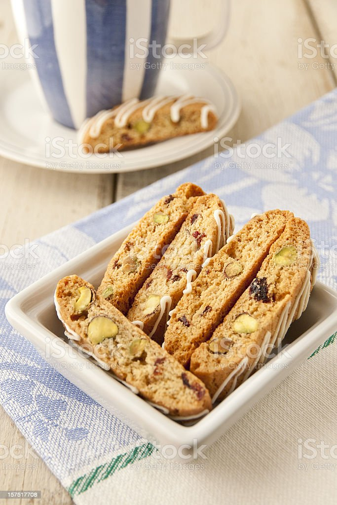 Biscotti  with pistachio and cranberry. royalty-free stock photo