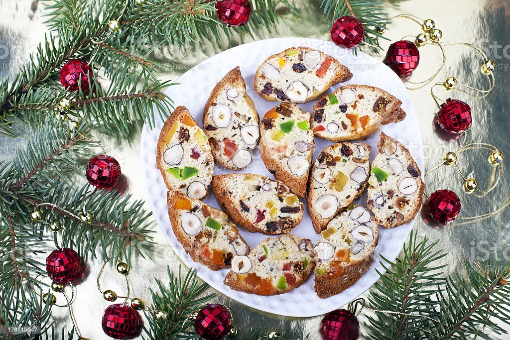 Biscotti with raisins, dried fruits and nuts royalty-free stock photo