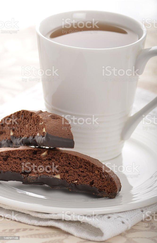 Biscotti with tea stock photo