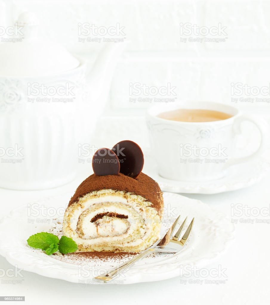 Biscuit coffee roll with cream tiramisu. royalty-free stock photo