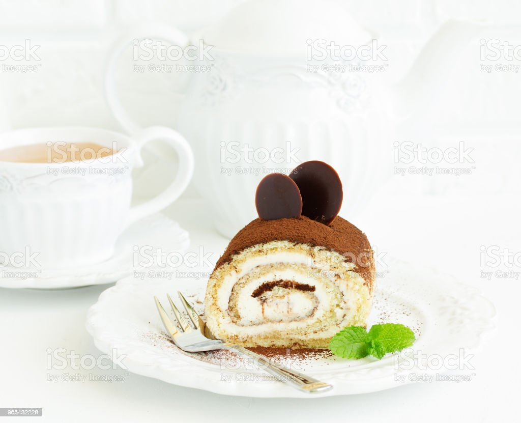 Biscuit coffee roll with cream tiramisu. zbiór zdjęć royalty-free
