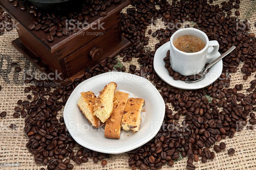 Biscuit cookie and coffee royalty-free stock photo
