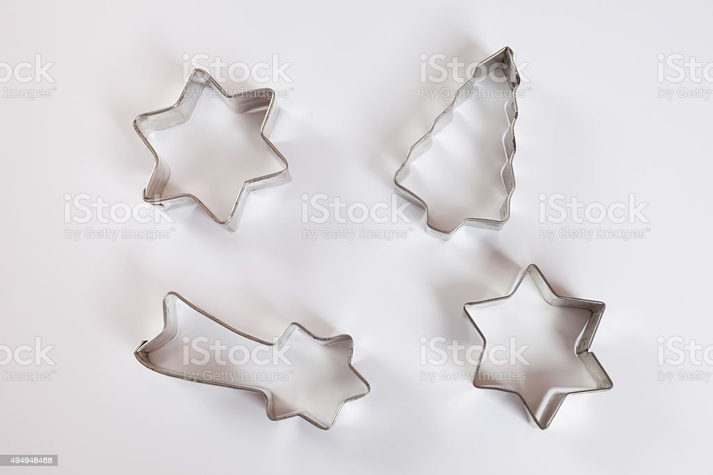 Biscuit cutter for christmas cookies, white background stock photo