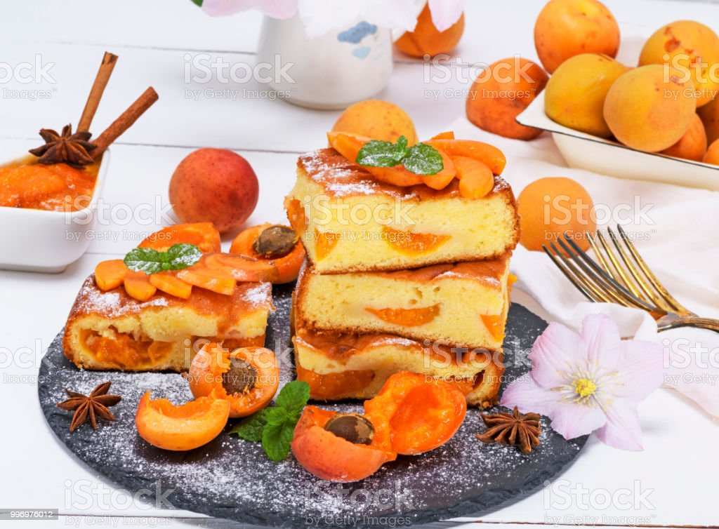 biscuit pie with apricots stock photo