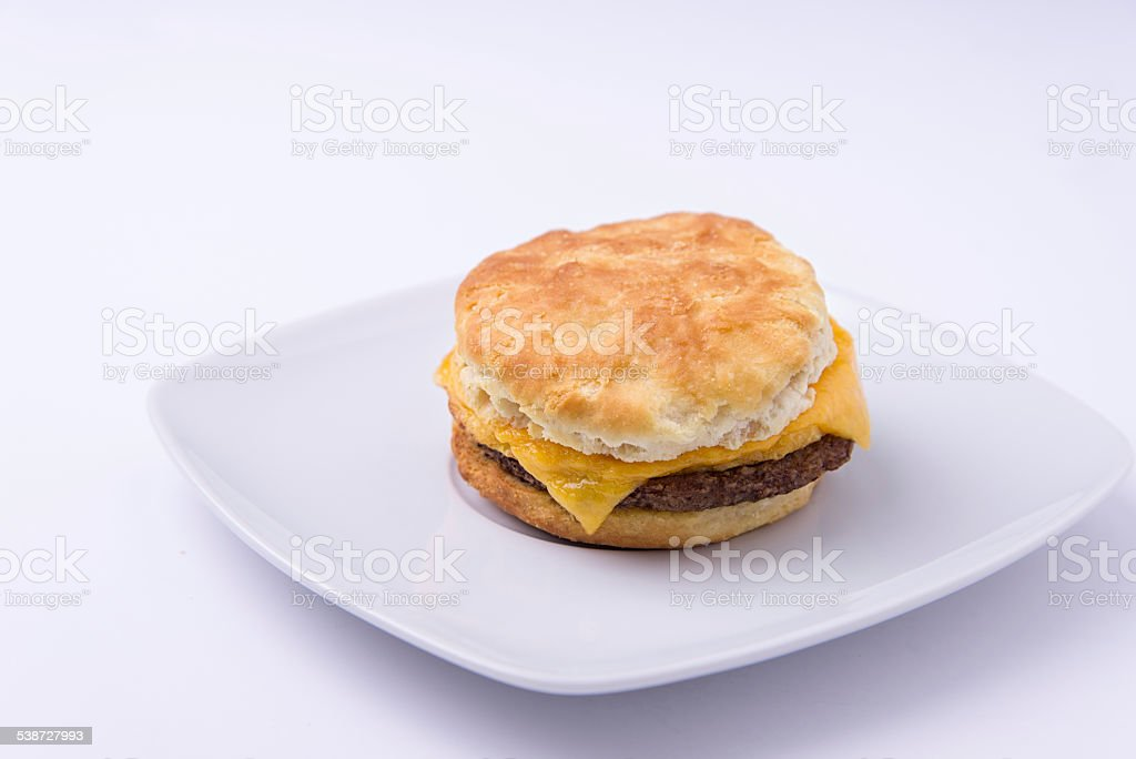 Biscuit, Sausage, egg & cheese. Breakfast sandwich stock photo