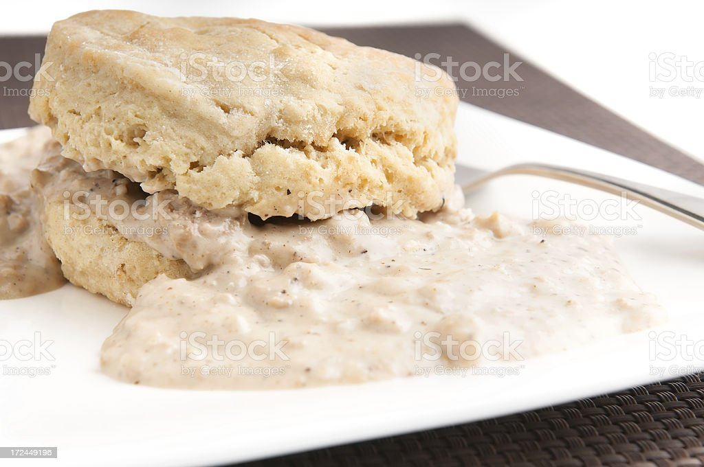 Biscuit with Sausage Gravy stock photo