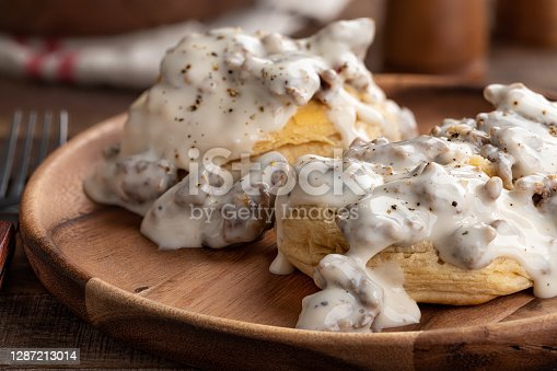 istock Biscuits and Creamy Sausage Gravy 1287213014