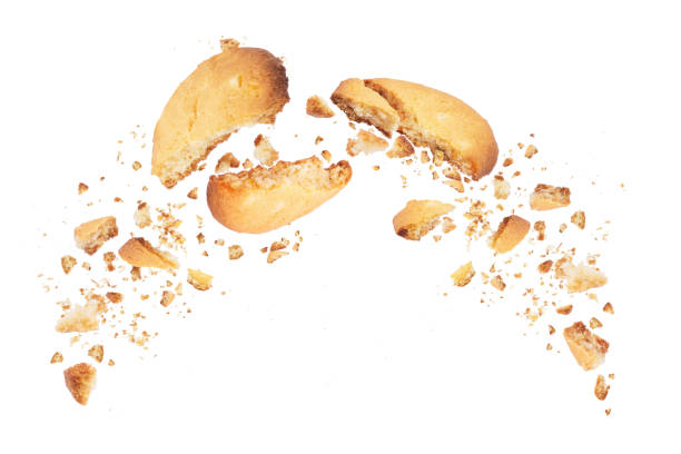 biscuits broken into two halves with falling crumbs down, isolated on white background - briciola foto e immagini stock
