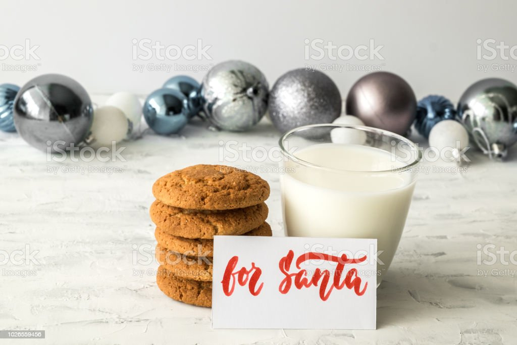Biscuits Christmas Toys Glass Of Milk And Plate With Inscription For