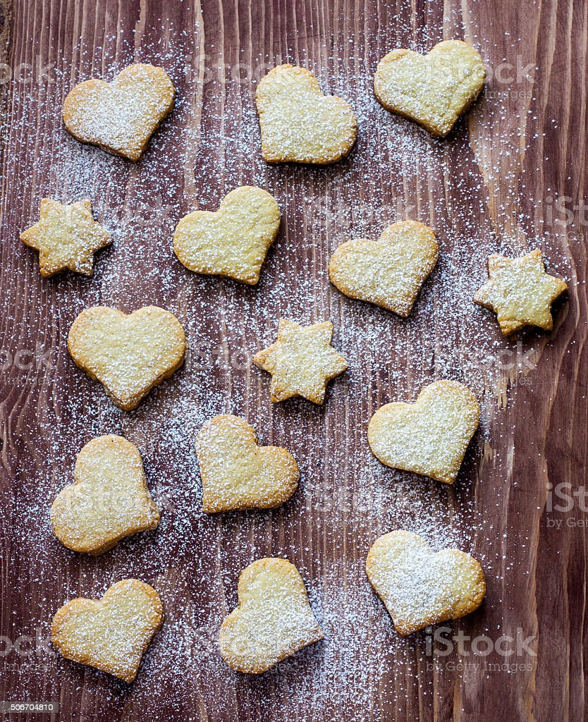 Biscuits in the shape of a heart and star stock photo