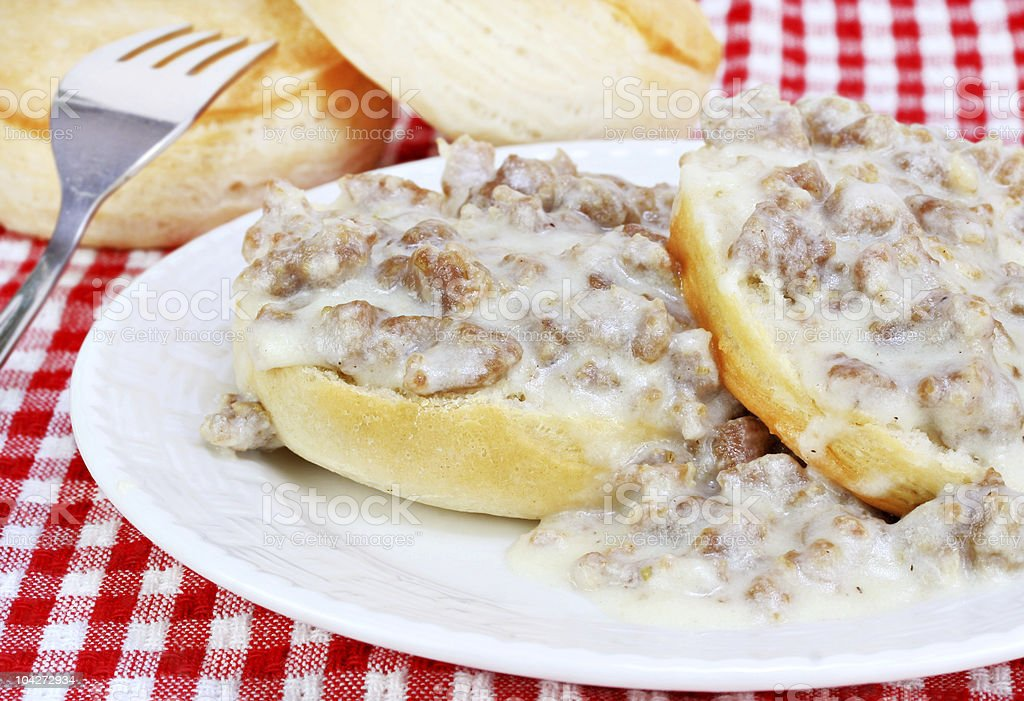 Biscuits, sausage and gravy royalty-free stock photo